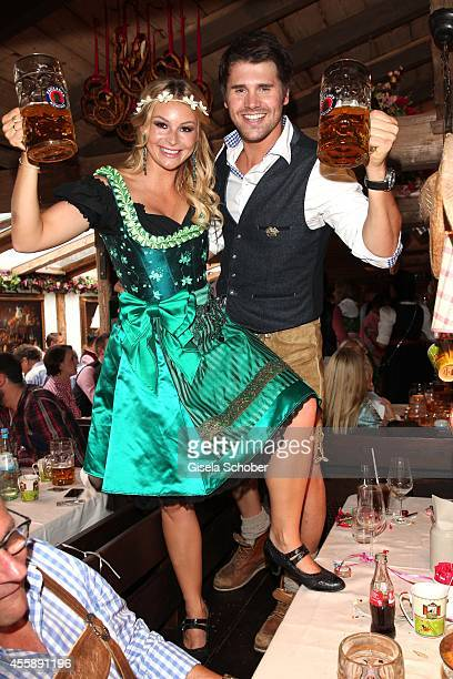 Thore Schoelermann and his girlfriend Jana Julie Kilka during ProSiebenSat1 Wiesn Oktoberfest at Theresienwiese on September 21 2014 in Munich Germany