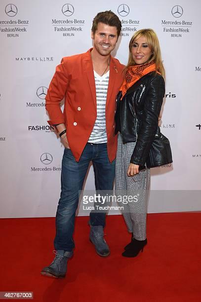 Thore Schoelermann and Senna Gammour arrive for the Barre Noire Show during MercedesBenz Fashion Week Autumn/Winter 2014/15 at Brandenburg Gate on...
