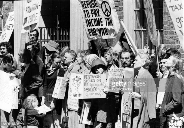 Thoreau Walkers join a silent vigil outside the Old State House in Boston April 15 1970