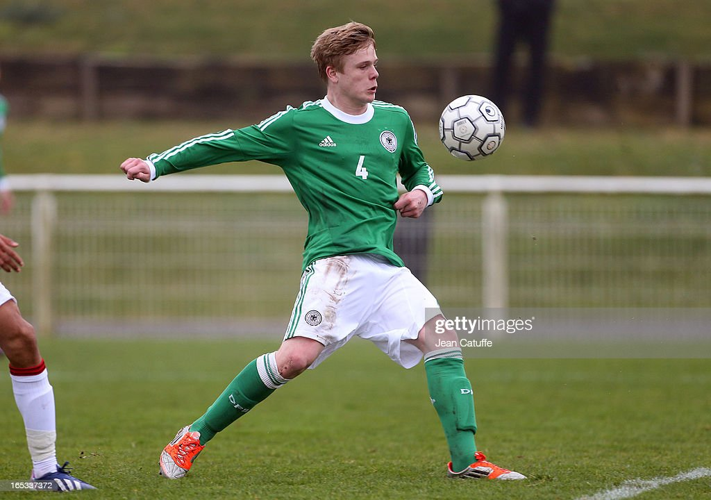 Thores-Andreas Jacobsen of Germany in action during the Tournament of Montaigu qualifier match between U16 Germany and U16 England at the Stade Saint Andre D'Ornay on March 30, 2013 in La Roche-sur-Yon, France.