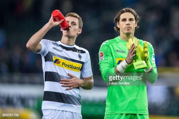 Thorgan Hazard and Goalkeeper Yann Sommer of Moenchengladbach react after loosing the Bundesliga match between Borussia Moenchengladbach and Bayern...