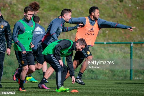 Thorgan Hazard midfielder of Belgium and Dries Mertens forward of Belgium during a training session prior to the International Qualifying Match group...