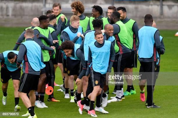 Thorgan Hazard midfielder of Belgium Axel Witsel midfielder of Belgium Kevin De Bruyne forward of Belgium and Vincent Kompany defender of Belgium...