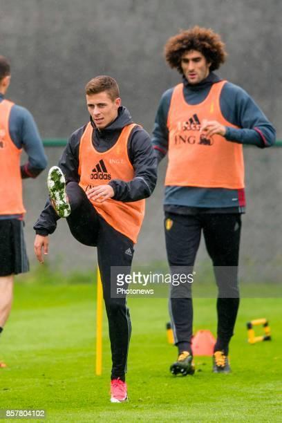 Thorgan Hazard midfielder of Belgium Marouane Fellaini midfielder of Belgium during a training session of the National Soccer Team of Belgium prior...