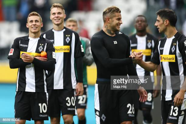 Thorgan Hazard Nico Elvedi Raul Bobadilla and Lars Stindl of Moenchengladbach celebrate after the Bundesliga match between Borussia Moenchengladbach...