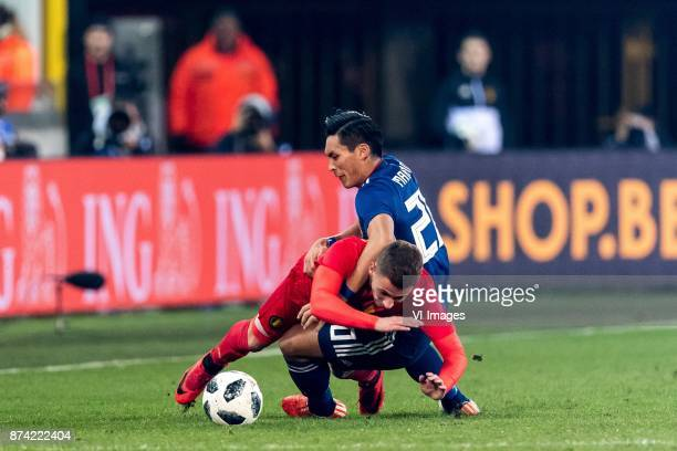 Thorgan Hazard of Belgium Tomoaki Makino of Japan during the friendly match between Belgium and Japan on November 14 2017 at the Jan Breydel stadium...