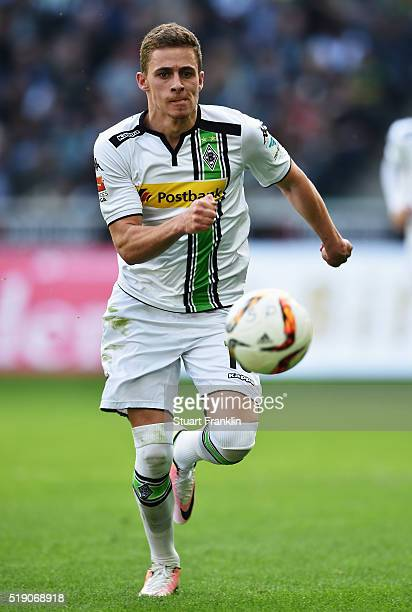 Thorgan Hazard of Gladbach in action during the Bundesliga match between Borussia Moenchengladbach and Hertha BSC at BorussiaPark on April 3 2016 in...