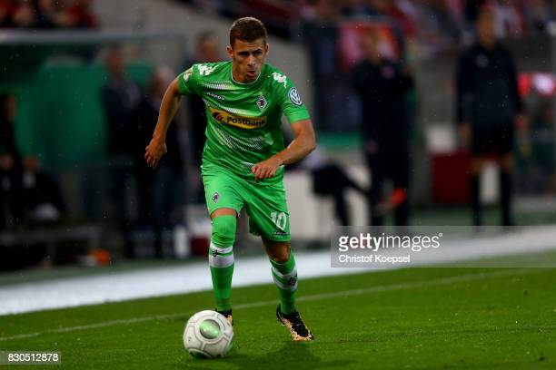 Thorgan Hazard of Mnchengladbach runs with the ball during the DFB Cup first round match between RotWeiss Essen and Borussia Moenchengladbach at...