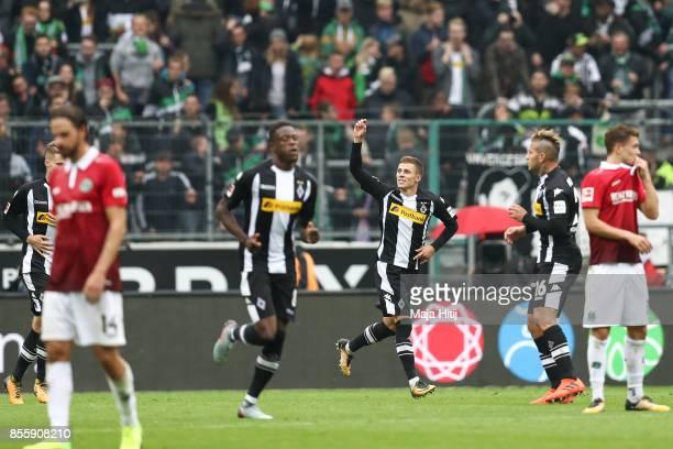 Thorgan Hazard of Moenchengladbach celebrates after scoring penalty shot to make it 21 during the Bundesliga match between Borussia Moenchengladbach...