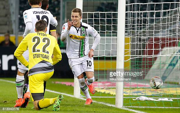 Thorgan Hazard of Moenchengladbach celebrates scoring the opening goal against Goalkeeper Tyton Przemyslaw of Stuttgart during the Bundesliga match...