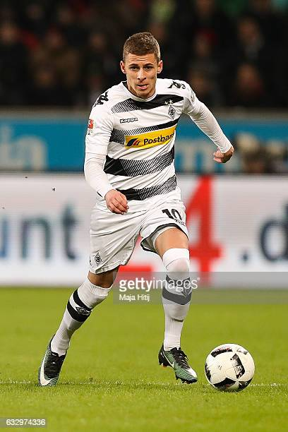 Thorgan Hazard of Moenchengladbach controls the ball during the Bundesliga match between Bayer 04 Leverkusen and Borussia Moenchengladbach at...