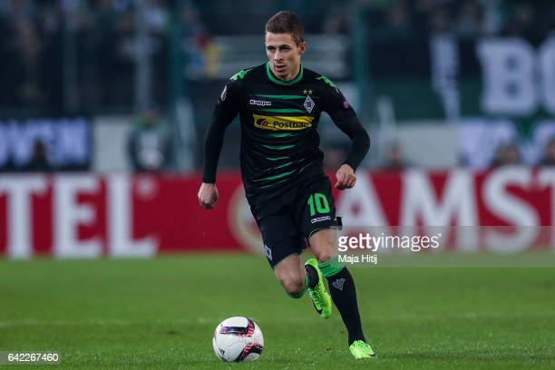Thorgan Hazard of Moenchengladbach controls the ball during the UEFA Europa League Round of 32 first leg match between Borussia Moenchengladbach and...