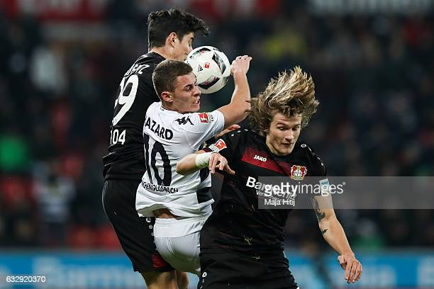 Thorgan Hazard of Moenchengladbach Kai Havertz of Leverkusen and Tin Jedvaj of Leverkusen fight or the ball during the Bundesliga match between Bayer...