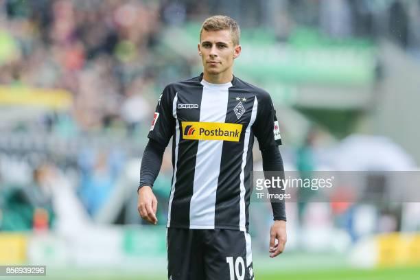 Thorgan Hazard of Moenchengladbach looks on during the Bundesliga match between Borussia Moenchengladbach and Hannover 96 at BorussiaPark on...