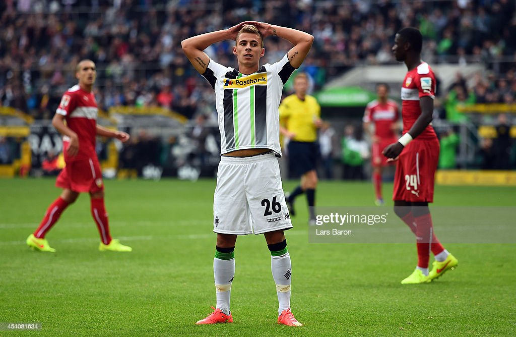 <a gi-track='captionPersonalityLinkClicked' href=/galleries/search?phrase=Thorgan+Hazard&family=editorial&specificpeople=5529022 ng-click='$event.stopPropagation()'>Thorgan Hazard</a> of Moenchengladbach reacts during the Bundesliga match between Borussia Moenchengladbach and VfB Stuttgart at Borussia Park Stadium on August 24, 2014 in Moenchengladbach, Germany.