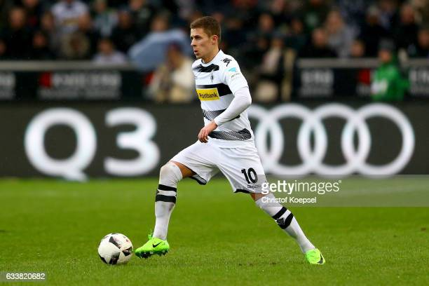 Thorgan Hazard of Moenchengladbach runs with the ball during the Bundesliga match between Borussia Moenchengladbach and SC Freiburg at BorussiaPark...
