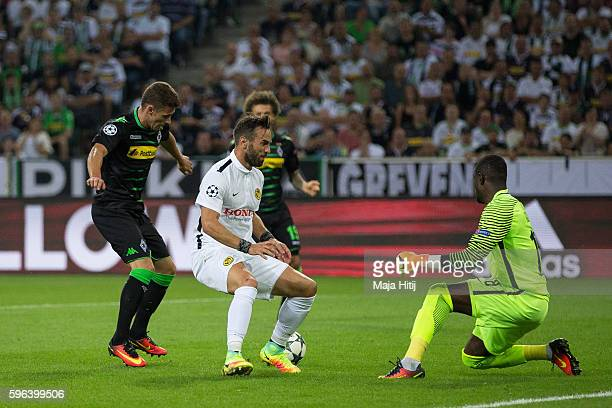 Thorgan Hazard of Moenchengladbach scores a goal next to Yvon Mvogo of YB Bern to make it 10 during the UEFA Champions League Qualifying PlayOffs...