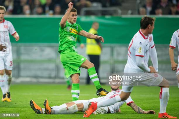Thorgan Hazard of Moenchengladbach scores his teams first goal during the DFB Cup match between Fortuna Duesseldorf and Borussia Moenchengladbach at...