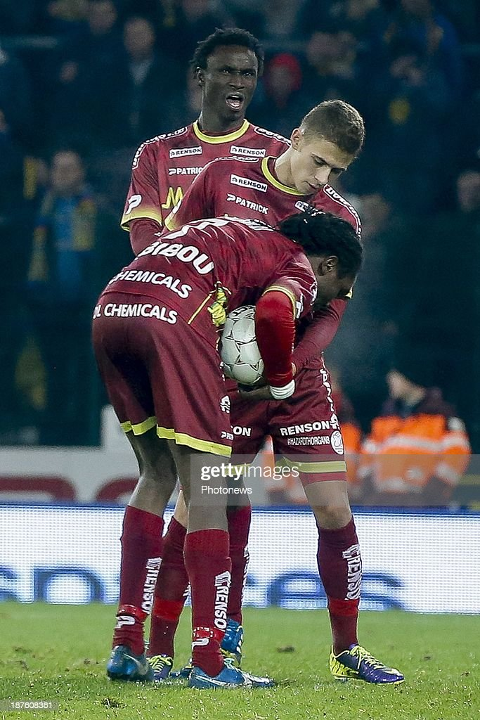 Thorgan Hazard of Zulte Waregem and Habib Habibou of Zulte Waregem during the Jupiler Pro League match between Zulte Waregem and Waasland Beveren on November 10, 2013 in Waregem, Belgium.