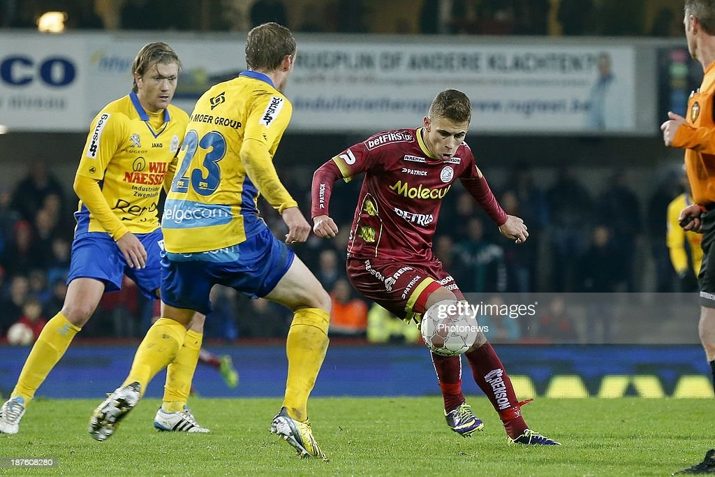 Thorgan Hazard of Zulte Waregem during the Jupiler Pro League match between Zulte Waregem and Waasland Beveren on November 10, 2013 in Waregem, Belgium.