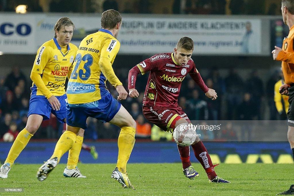 Thorgan Hazard of Zulte Waregem during the Jupiler Pro League match between Zulte Waregem and Waasland Beveren on November 10, 2013 in Waregem, Belgium.