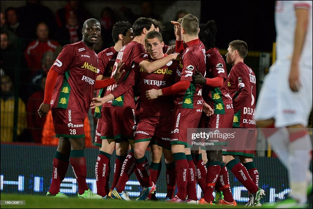 Thorgan Hazard of Zulte-Waregem and Bruno Godeau of Zulte-Waregem celebrate during the Jupiler League match play-off 1 between Zulte Waregem and Standard de Liege on April 12, 2013 in Waregem, Belgium.