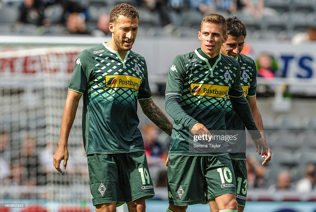 Thorgan Nordtveit of Borussia Monchengladbach celebrates with teammates after scoring the only goal during a Pre Season Friendly between Newcastle...