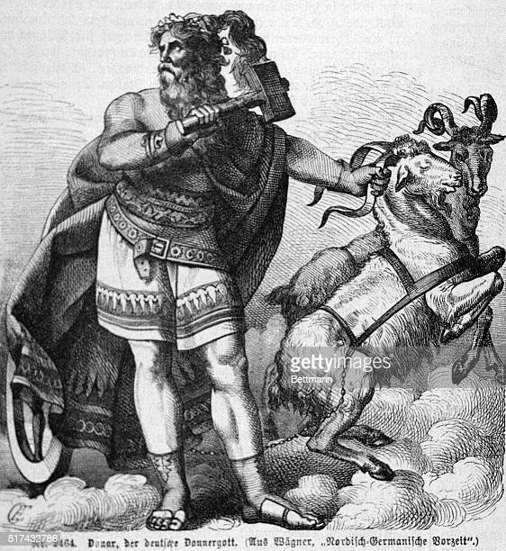 ThorNorse God of Thunder He is the enemy of the giants whom he intimidates with his hammer His chariot wheels make the thunder Undated woodcut