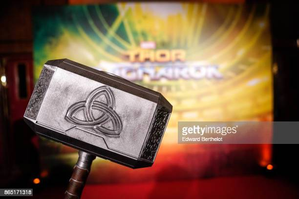 Thor's hammer Mjolnir is seen during Thor Ragnarok Paris Premiere at Le Grand Rex on October 22 2017 in Paris France