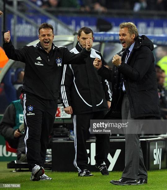 Thorsten Fink head coach of Hamburg celebrates after winning the Bundesliga match between Hamburger SV and 1899 Hoffenheim at Imtech Arena on...