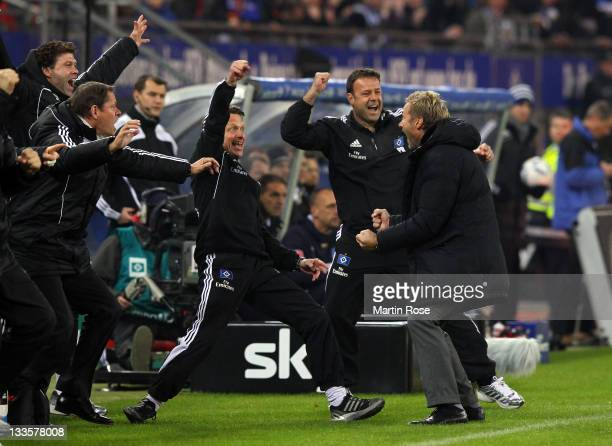 Thorsten Fink head coach of Hamburg celebrates with his team the 2nd goal during the Bundesliga match between Hamburger SV and 1899 Hoffenheim at...