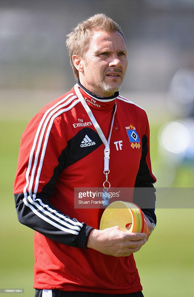Thorsten Fink, head coach of Hamburg looks on during a training session of Hamburger SV on April 18, 2013 in Hamburg, Germany.