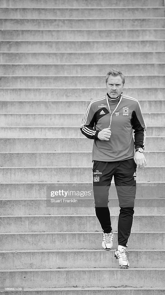 . Thorsten Fink, head coach of Hamburg looks on during a training session of Hamburger SV on April 18, 2013 in Hamburg, Germany.