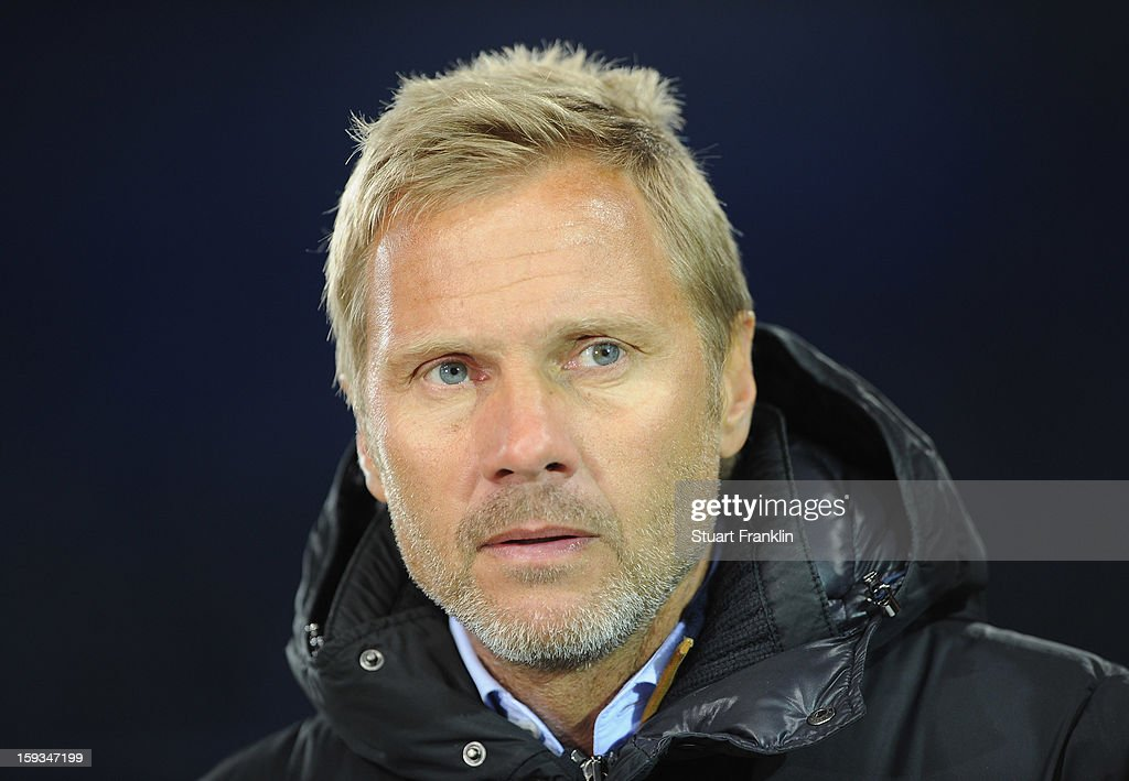 <a gi-track='captionPersonalityLinkClicked' href=/galleries/search?phrase=Thorsten+Fink&family=editorial&specificpeople=2381735 ng-click='$event.stopPropagation()'>Thorsten Fink</a>, head coach of Hamburg looks on during the international friendly match between Hamburger SV and Austria Wien at Imtech Arena on January 12, 2013 in Hamburg, Germany.