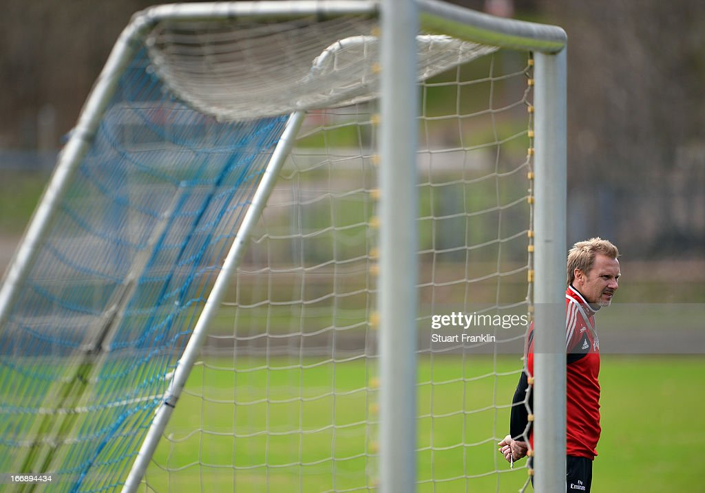 Thorsten Fink, head coach of Hamburg ponders during a training session of Hamburger SV on April 18, 2013 in Hamburg, Germany.