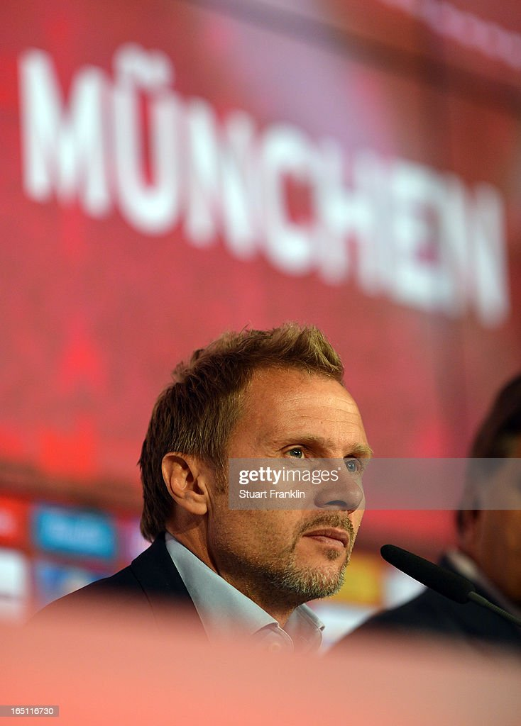 Thorsten Fink, head coach of Hamburg ponders during the press conference after the Bundesliga match between FC Bayern Muenchen and Hamburger SV at Allianz Arena on March 30, 2013 in Munich, Germany.