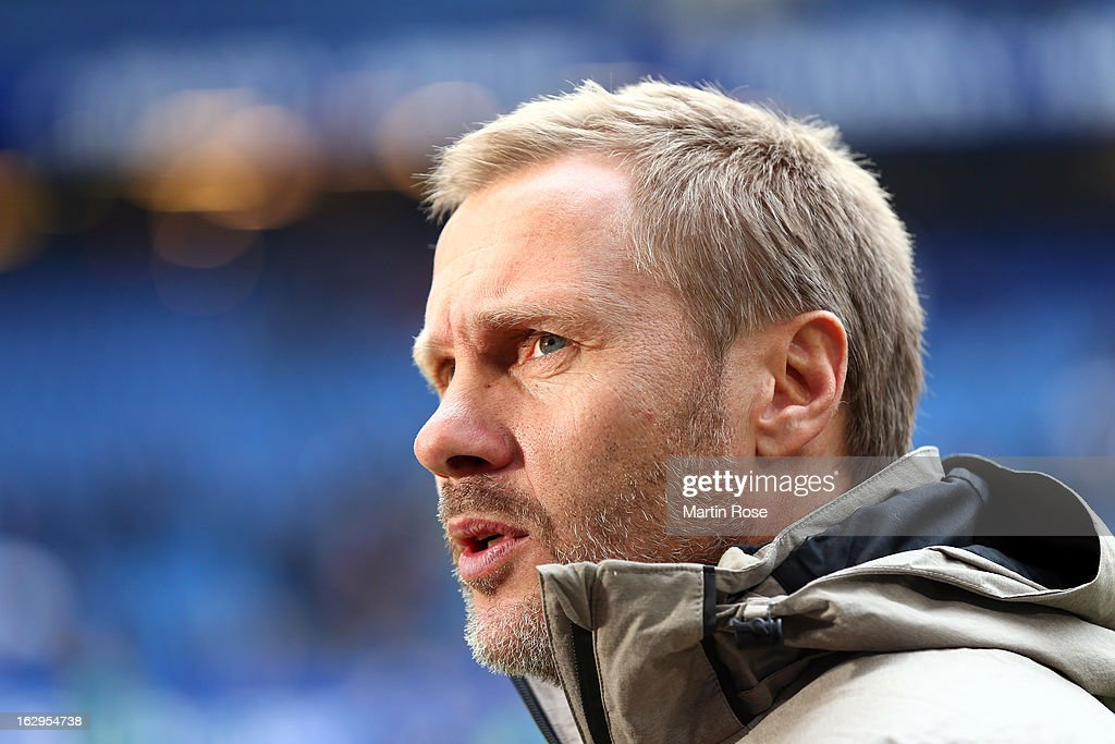 Thorsten Fink, head coach of Hamburger SV, is seen prior to the Bundesliga match between Hamburger SV and Greuther Fuert at Imtech Arena on March 2, 2013 in Hamburg, Germany.