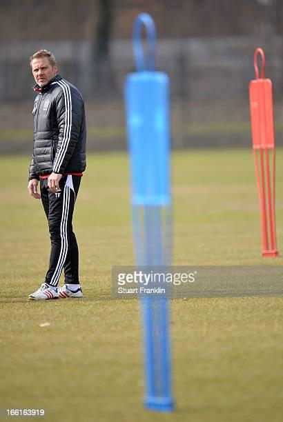 Thorsten Fink head coach of Hamburger SV looks on during a training session of Hamburg SV on April 9 2013 in Hamburg Germany