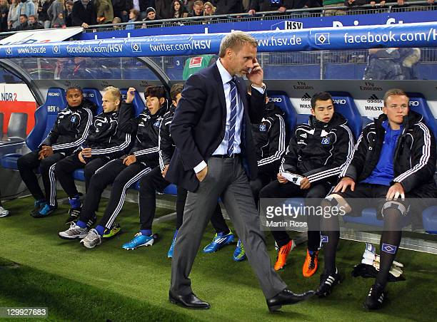 Thorsten Fink new head coach of Hamburg looks on before the Bundesliga match between Hamburger SV and VfL Wolfsburg at Imtech Arena on October 22...