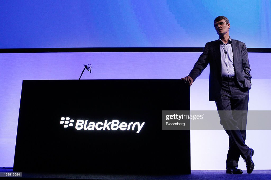 Thorsten Heins, chief executive officer of BlackBerry, attends the launch of the BlackBerry Z10 smartphone in Sydney, Australia, on Monday, March 18, 2013. BlackBerry, the Canadian smartphone maker that rolled out a new lineup in January, said on March 13 one of its 'established partners' is buying 1 million BlackBerry 10s, the biggest order in the company's history. Photographer: Brendon Thorne/Bloomberg via Getty Images
