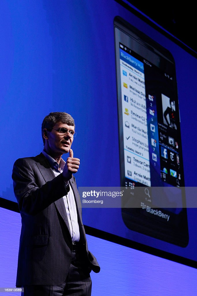 <a gi-track='captionPersonalityLinkClicked' href=/galleries/search?phrase=Thorsten+Heins&family=editorial&specificpeople=6636159 ng-click='$event.stopPropagation()'>Thorsten Heins</a>, chief executive officer of BlackBerry, gestures as he speaks during the launch of the BlackBerry Z10 smartphone in Sydney, Australia, on Monday, March 18, 2013. BlackBerry, the Canadian smartphone maker that rolled out a new lineup in January, said on March 13 one of its 'established partners' is buying 1 million BlackBerry 10s, the biggest order in the company's history. Photographer: Brendon Thorne/Bloomberg via Getty Images