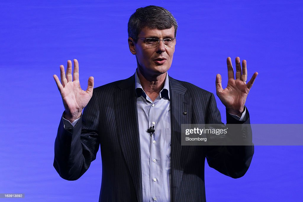 Thorsten Heins, chief executive officer of BlackBerry, gestures as he speaks during the launch of the BlackBerry Z10 smartphone in Sydney, Australia, on Monday, March 18, 2013. BlackBerry, the Canadian smartphone maker that rolled out a new lineup in January, said on March 13 one of its 'established partners' is buying 1 million BlackBerry 10s, the biggest order in the company's history. Photographer: Brendon Thorne/Bloomberg via Getty Images