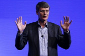 Thorsten Heins chief executive officer of BlackBerry gestures as he speaks during the launch of the BlackBerry Z10 smartphone in Sydney Australia on...