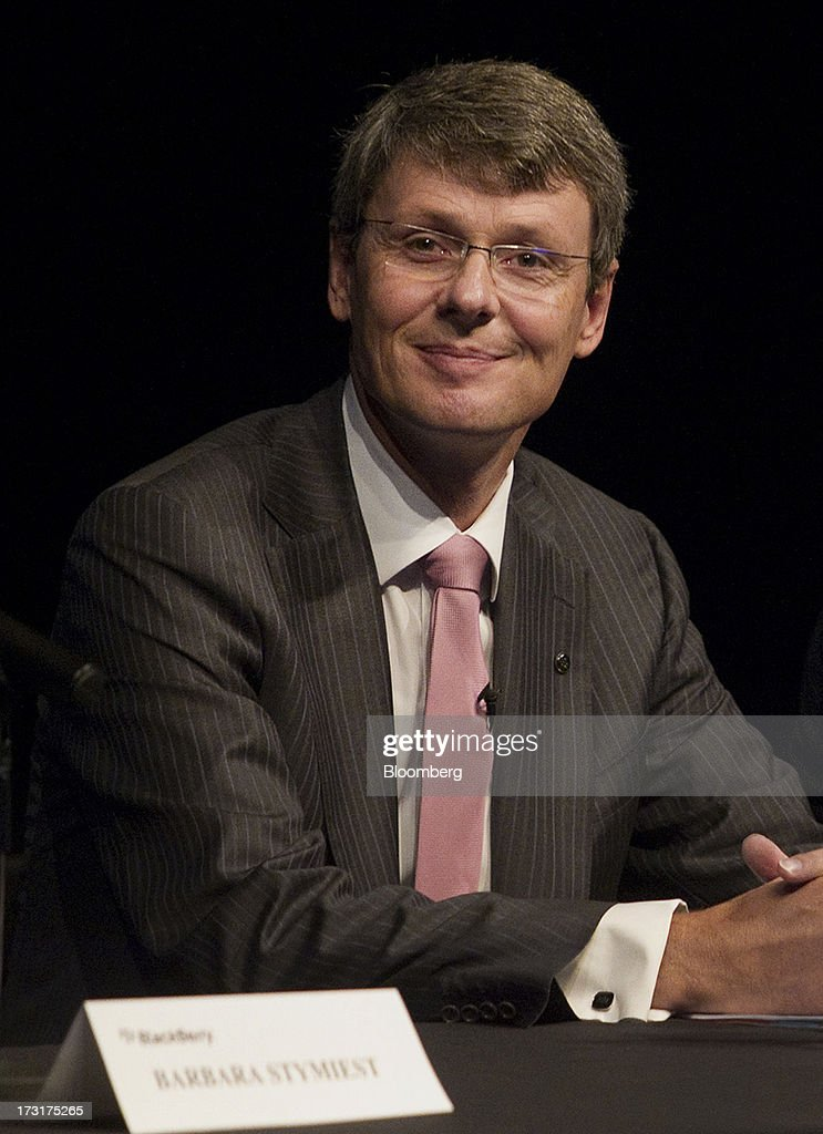 <a gi-track='captionPersonalityLinkClicked' href=/galleries/search?phrase=Thorsten+Heins&family=editorial&specificpeople=6636159 ng-click='$event.stopPropagation()'>Thorsten Heins</a>, chief executive officer of BlackBerry, smiles during the company's annual general meeting in Waterloo, Ontario, Canada, on Tuesday, July 9, 2013. BlackBerrys chances of becoming a viable contender to Apple Inc. and Google Inc. in the smartphone market are dimming amid lackluster demand for its flagship touch-screen device. Photographer: Pawel Dwulit/Bloomberg via Getty Images