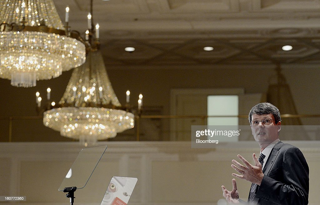 Thorsten Heins chief executive officer of BlackBerry speaks during an event at the Empire Club of Canada in Toronto Ontario Canada on Tuesday Feb 5...