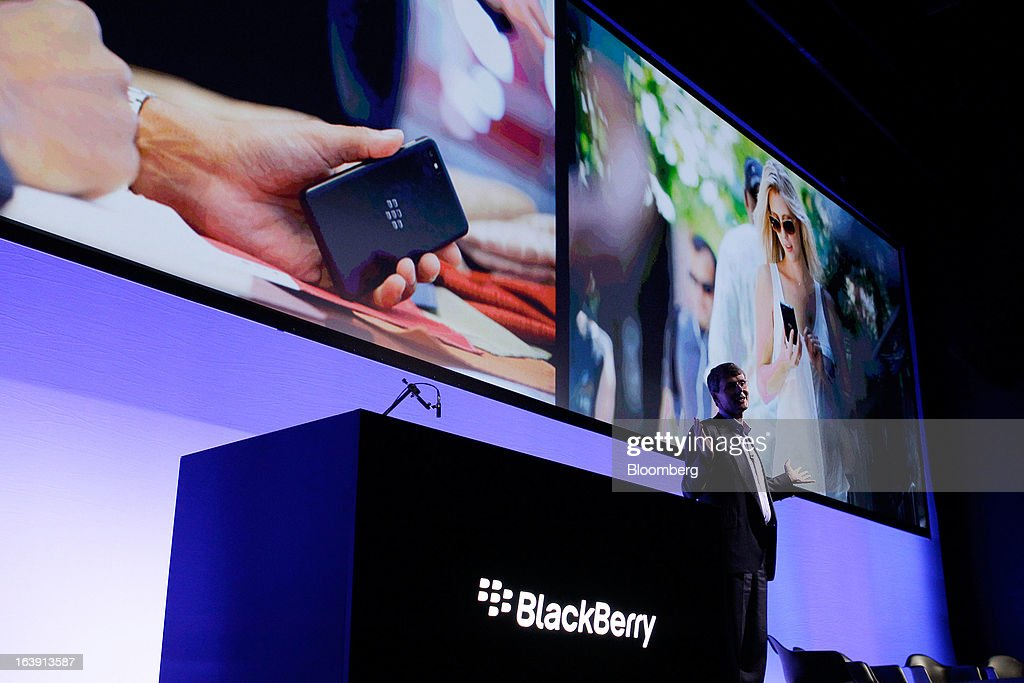 Thorsten Heins, chief executive officer of BlackBerry, speaks during the launch of the BlackBerry Z10 smartphone in Sydney, Australia, on Monday, March 18, 2013. BlackBerry, the Canadian smartphone maker that rolled out a new lineup in January, said on March 13 one of its 'established partners' is buying 1 million BlackBerry 10s, the biggest order in the company's history. Photographer: Brendon Thorne/Bloomberg via Getty Images
