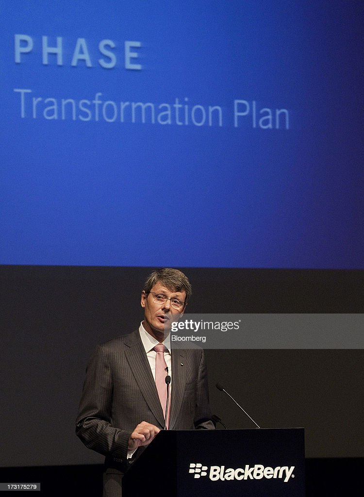 <a gi-track='captionPersonalityLinkClicked' href=/galleries/search?phrase=Thorsten+Heins&family=editorial&specificpeople=6636159 ng-click='$event.stopPropagation()'>Thorsten Heins</a>, chief executive officer of BlackBerry, speaks during the company's annual general meeting in Waterloo, Ontario, Canada, on Tuesday, July 9, 2013. BlackBerrys chances of becoming a viable contender to Apple Inc. and Google Inc. in the smartphone market are dimming amid lackluster demand for its flagship touch-screen device. Photographer: Pawel Dwulit/Bloomberg via Getty Images
