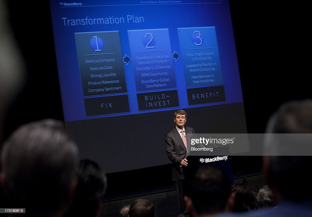 Thorsten Heins chief executive officer of BlackBerry speaks during the company's annual general meeting in Waterloo Ontario Canada on Tuesday July 9...