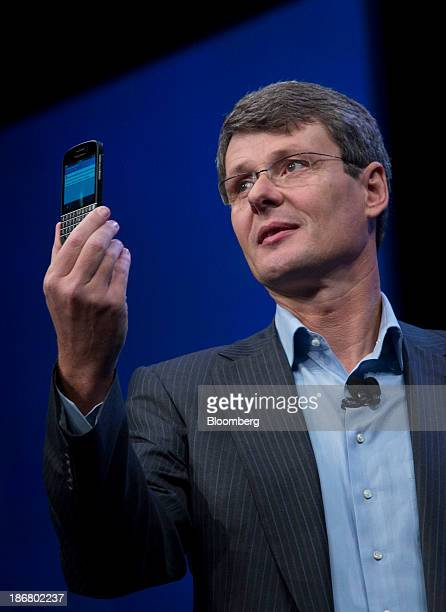 Thorsten Heins chief executive officer of Research In Motion Ltd speaks during the launch of the BlackBerry 10 in New York US on Wednesday Jan 30...