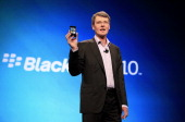 Thorsten Heins president and chief executive officer of Research In Motion Ltd speaks at the BlackBerry World Conference in Orlando Florida US on...